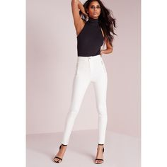 Missguided Vice High Waisted Zipped Super Stretch Skinny Jeans  ($37) ❤ liked on Polyvore featuring jeans, white, white high-waisted jeans, stretchy skinny jeans, high rise skinny jeans, stretch jeans and white high waisted jeans
