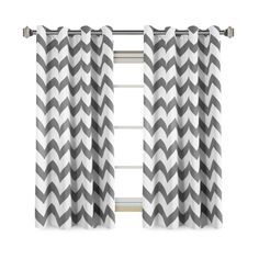 FlamingoP Chevron Blackout Grommet Curtains 2-Pack, Mild Gray