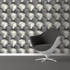 Add a funky touch to any room with this grey geometric wallpaper from the Prisme Wallpaper Collection. Available at Go Wallpaper UK. Grey Wallpaper Abstract, Wallpaper Uk, Egg Chair, Home Art, Color Schemes, Cube, Contemporary, Abstract Designs, Room