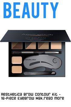 Who Knew Having The PERFECT Brow Would Be This Easy! Get the beautiful brows you have always wanted with the Aesthetica Brow Contour Kit! This amazing kit is like your own personal and portable brow bar that includes everything you need to define, fill and shape your brows, in one travelfriendly, mirrored pallet. Each pallet contains six different shades that are ideal for flawless color match...