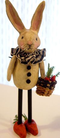 paper mache rabbit - he's sweet - think he'd be cute out of clay too