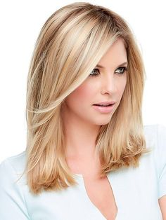 Top Style 12 by Jon Renau – Synthetic Hair Topper - Schulterlange Haare Ideen Frontal Hairstyles, Wig Hairstyles, Ladies Hairstyles, Fancy Hairstyles, Medium Hair Styles, Curly Hair Styles, Hair Medium, Hair Toppers, Medium Bob Hairstyles