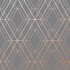 Metro Diamond Geometric Wallpaper - Charcoal and Copper - World of Wallpaper