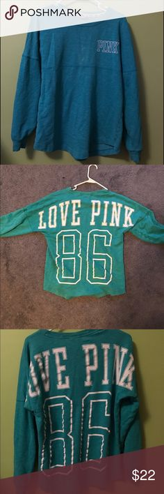 Green/blue Pink Victoria's Secret pullover Super comfy sweater from Pink Victoria's Secret! In perfect condition besides a slight bleach stain on the front (pictured). It is an oversized sweater so can fit sizes xs-m!! Great color and great quality! PINK Victoria's Secret Sweaters Crew & Scoop Necks
