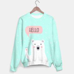 Cute Winter Polar Bear says Hello-  Illustration - DESIGN -  Sweater Brand Store, Say Hello, Polar Bear, Graphic Sweatshirt, Live, Stylish, Sweatshirts, Illustration, Sweaters