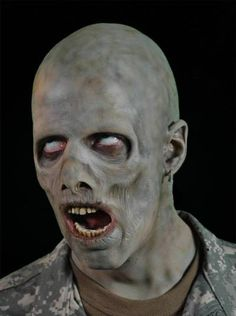A classic Zombie look. Jerky is a full face, withered undead character with protruding bone structure. Makes a great mummy too. Partial face prosthetic in foam latex. Horror Makeup, Zombie Makeup, Scary Makeup, Sfx Makeup, Costume Makeup, Halloween Masks, Halloween Makeup, Zombies, Artistic Make Up