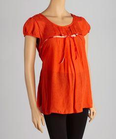 Love this Orange Ribbon Maternity Scoop Neck Top on #zulily! #zulilyfinds