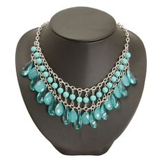 Turquoise teardrop necklace this with leather chain maille chain