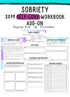 2019 Self-Love Workbook and Planner Add-Ons Get the 2018 Self-Love Workbook and Planner for all of your self-care needs. Plan out your self-care every single day and cultivate a routine! Counseling Worksheets, Therapy Worksheets, Therapy Activities, Counseling Activities, Group Activities, Social Work Worksheets, Therapy Ideas, Addiction Therapy, Drug Addiction Recovery