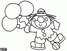 Clown with three balloons in hand coloring page