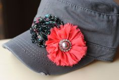 Shabby Chic Black Vintage Floral Flower Distressed Military Cadet flower hat. Pink Chiffon Pearl Bling Flower Hats Womens Cadet Cap $28