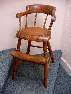 "Painted Windsor High Chair - Windsor high chair, original paint decoration, 29"" high (to top of crest), circa 1850, Pennsylvania origin."
