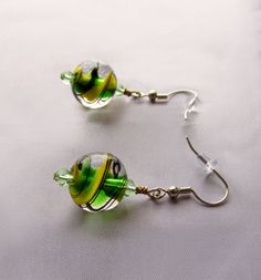 Glass marble jewelry Glass marble earrings Green by UniquelyArdath, $18.99