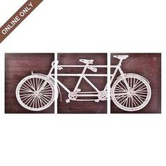 Wood Tandem Bike Wall Decor Art Print, Set of 3