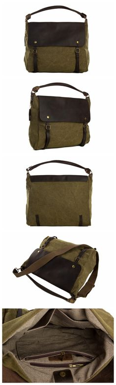 Moshi Hot Sale High Quality Canvas Leather Tote Bag, Waxed Canvas Briefcase Messenger Bag