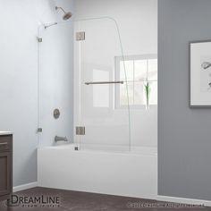"DreamLine SHDR-3348588 AquaLux 58"" High x 48"" Wide Hinged Frameless Shower Door Brushed Nickel Showers Shower Doors Hinged"