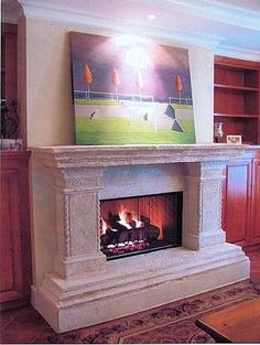 This stone fireplace mantel was installed in West Vancouver by Shawn Dingman from Vancouver Canada. Stone Fireplace Mantel, Vancouver Bc Canada, Home Goods, Homes, Amazing, Beautiful, Collection, Home Decor, Homemade Home Decor