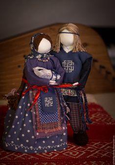 """Купить Авторские куклы-обереги """"Семья"""" - тёмно-синий, народные куклы…"""