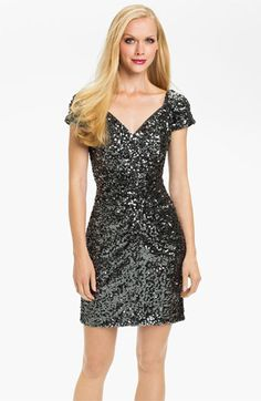 Hailey by Adrianna Papell Short Sleeve Sequin Dress | Nordstrom