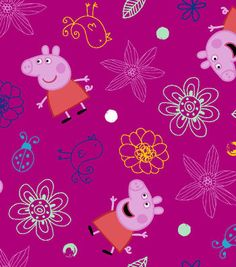 Peppa Pig Plays in Flowers Cotton Fabric 43''