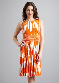 Great orange & white abstract dress....I bet this looks better in person than in the pic too....