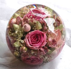 "A real challenge for our designers here - this beautiful paperweight designed in our luxury 4.5"" range of paperweights www.flowerpreservationworkshop.co.uk"