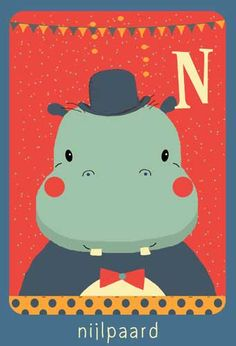 Alfabet print - N - Nijlpaard - Pimpelpluis - https://www.facebook.com/pages/Pimpelpluis/188675421305550?ref=hl - (nursery print illustration kids children art poster dieren kinderen cute illustratie animal alphabet) abc cards