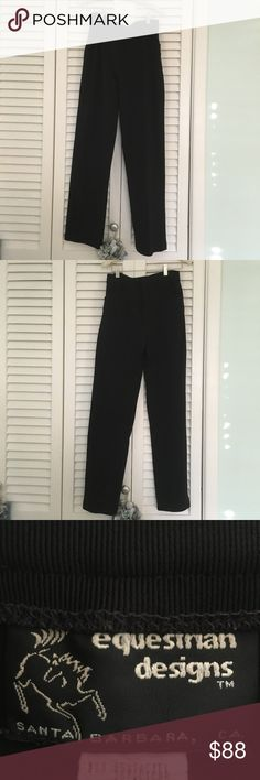 Equestrian brand pants in black Equestrian ribbed pants.  Belt loops and front pockets. Color Black. Size Small. Excellent fit and comfort Equestrian Pants Trousers