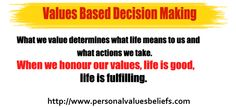 What we value determines what life means to us and what actions we take.    When we honour our values, life is good, life is fulfilling.  http://www.personalvaluesbeliefs.com