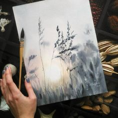 for more art every day! Check out our Art Online Store (link in bio) Art by Watercolor Landscape, Watercolour Painting, Painting & Drawing, Watercolors, Watercolor Sunset, Landscape Paintings, Watercolour Illustration, Sponge Painting, Sunset Landscape