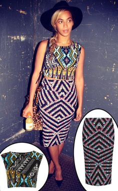 Beyoncé looks great in this $68 Topshop printed skirt and crop top combo.