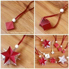 Stampin up estrelas mágicas - Weihnachten - Christmas Origami, Stampin Up Christmas, Christmas Paper, Handmade Christmas, Christmas Crafts, Christmas Decorations, Christmas Ornaments, Origami And Kirigami, Origami Paper
