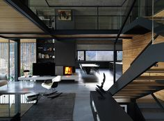 Z House in Tarvisio, Udine Holiday Home - e-architect Concrete Ceiling, Concrete Floors, Exposed Concrete, Villa, Glass Facades, Ground Floor, Living Area, Cozy Living, Living Room