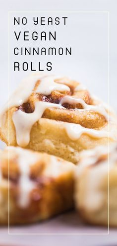 Delicious and easy to make no yeast vegan cinnamon rolls take just 45 minutes to make and require no rise time. Perfect for wanting homemade vegan cinnamon rolls quickly. No Yeast Cinnamon Rolls, Healthy Cinnamon Rolls, Gluten Free Cinnamon Rolls, Cinnamon Bread, Vegan Dessert Recipes, Vegan Breakfast Recipes, Vegan Sweets, Breakfast Options, Brunch Recipes