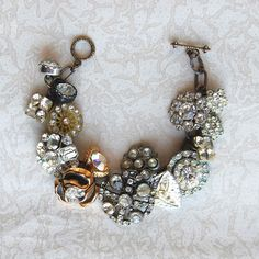 Rhinestone Button Bracelet