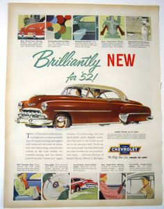 Retro 1952 Chevrolet Car Magazine Ad. #carposter #caradvertisement #vintageads