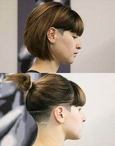 This is so perfect! I want to have a bob and an undercut and I want to be able to pull my hair back (so I can work out without my hair looking like shit). This is so adorable and it shows the length will go into a ponytail!