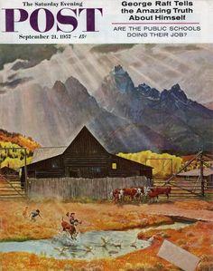 Ride 'Em Cowboy, by John Clymer, Sept. 21, 1957, The Saturday Evening Post.