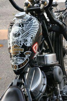 black, white & gold eagle tank on panhead springer custom #harleydavidsoncustom #harleydavidsonbobberblack