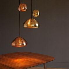Copper - Modern Retro Vintage Tom Dixon Void Replica Style Pendant Light Ceiling Lamp Shade Glass Chandelier for Kitchen, Dining Room, Living Room, Bedroom, Hallway, Restaurant, Cafe, Bar