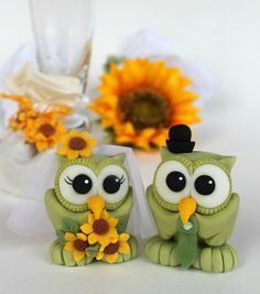 Owl cake topper love bird wedding cake topper by PerlillaPets
