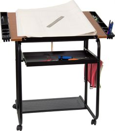 fcecade3860b Adjustable Drawing and Drafting Table with Black Frame and Dual Wheel  Casters Colorful Furniture
