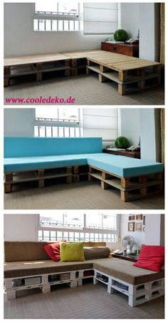 Möbel aus Europaletten Diy Pallet Sofa, Pallet Furniture, Pallet Sectional, Pallet Seating, Diy Couch, Outdoor Furniture, Outdoor Seating, Pallet Patio, Furniture Ideas