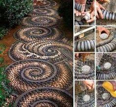 Decoración de jardines: Fotos de ideas decorativas con plantas y flores - Decoración de jardín con piedras recicladas