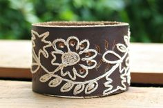 CUSTOM HANDSTAMPED brown leather cuff with stitching flower design by mothercuffer by mothercuffer on Etsy