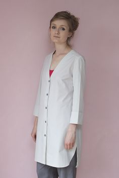 Sartorial Grey Ice Long Shirt or Dress with a deep V neckline to wear  everyday,  for a modern woman. Handcrafted in Tuscany.