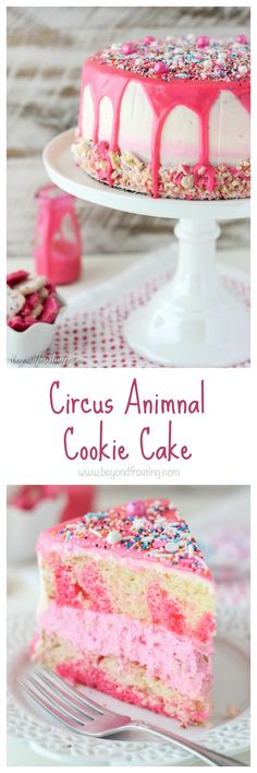 If you like Circus Animal Cookies, you will love this cake! It's an easy vanilla tye dye cake, vanilla buttercream and Circus Animal cookies. It's covered in a pink chocolate ganache and sprinkles.