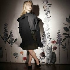 Lanvin Petite fall 2013 for girls has easy dressing with jersey layers in neutral greys and dark khaki tones