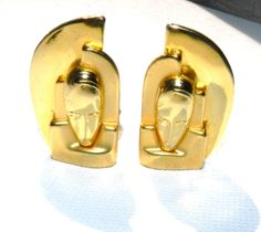 Modernist Brutalist Earrings, Face Tribal Masks Earrings, Gold Plated, 80's Vintage, Jewelry, Collectible, Fashion Jewelry by JeweledLuv on Etsy