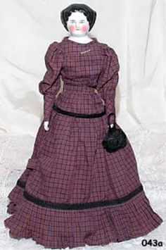 """German China Shoulder Head Doll with Beautiful Dress 19"""" from annmariesantiquedolls on Ruby Lane"""